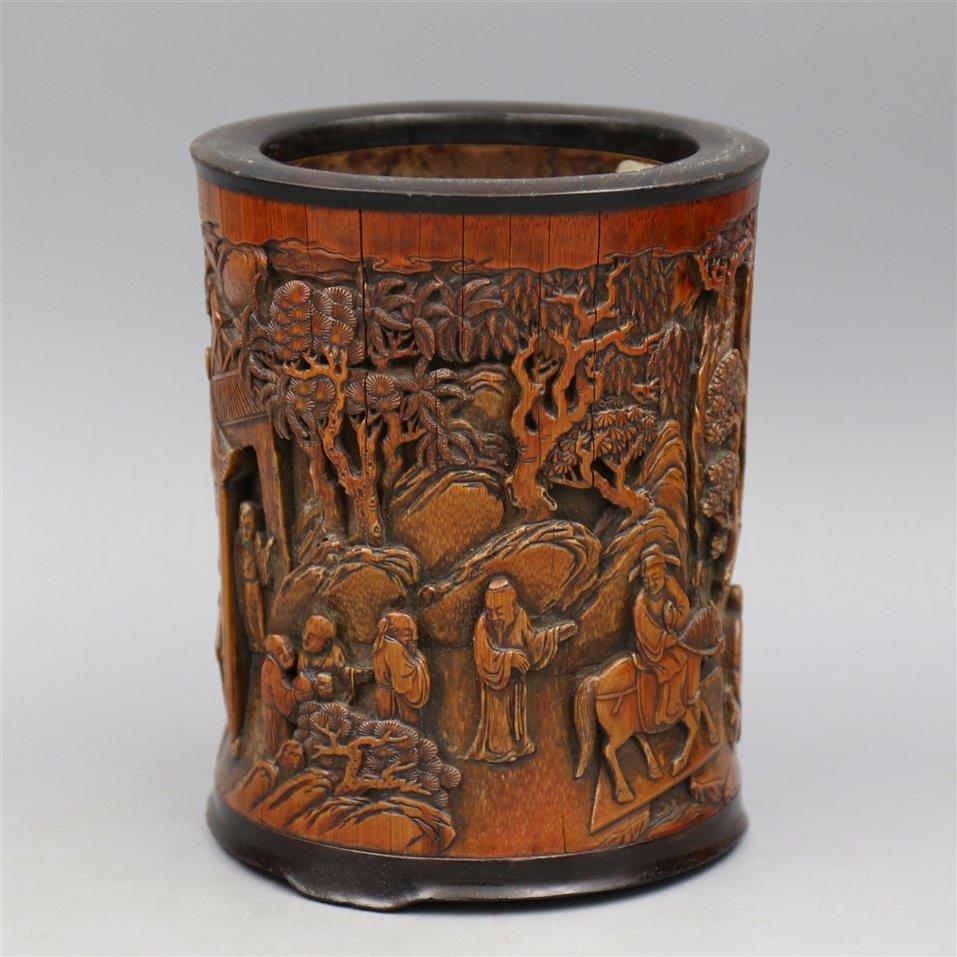 Chinese Bamboo Brush Pot. - 3