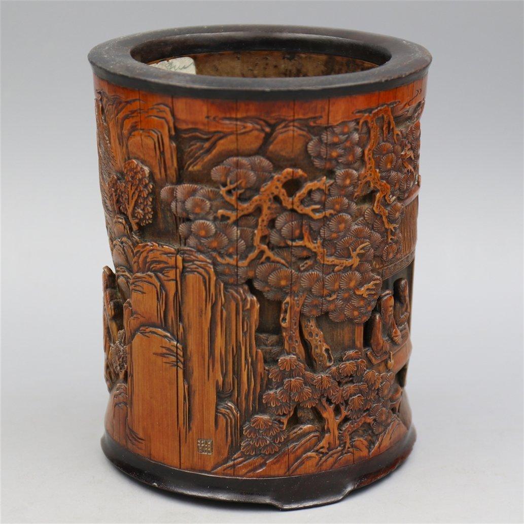 Chinese Bamboo Brush Pot. - 4