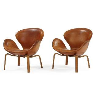 "A Pair of Danish Armchairs, Arne Jacobsen, ""Swan"","