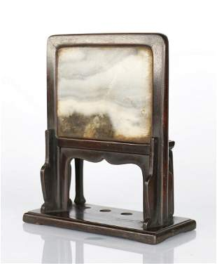 A CHINESE SCHOLAR STONE ROSEWOOD TABLE SCREEN