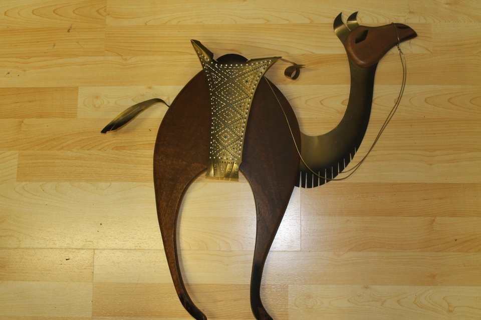 Mid Century Teak and brass Camel