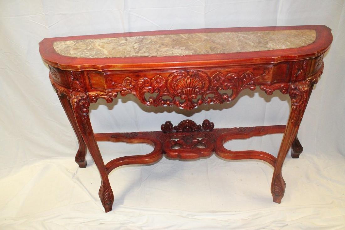 Oriental Elm wood Marble top hall/sofa table