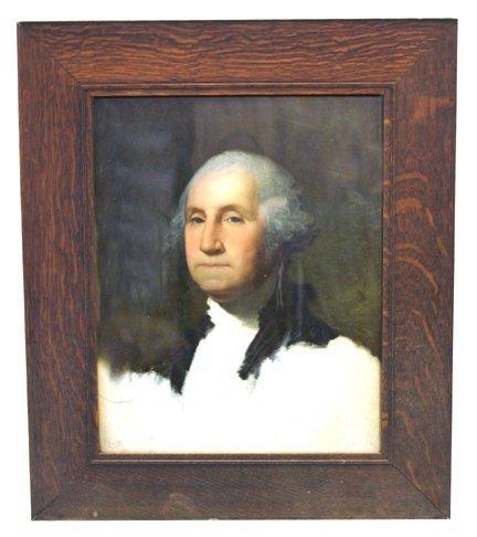 1: George Washington print with oak frame