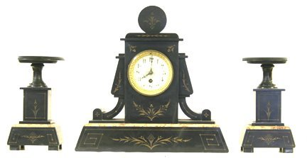 3: Clock set marble French 3 piece
