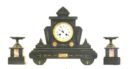 8: Clock set marble French 3 piece