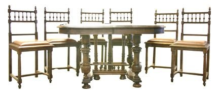 9: Dining room set - table & 6 chairs