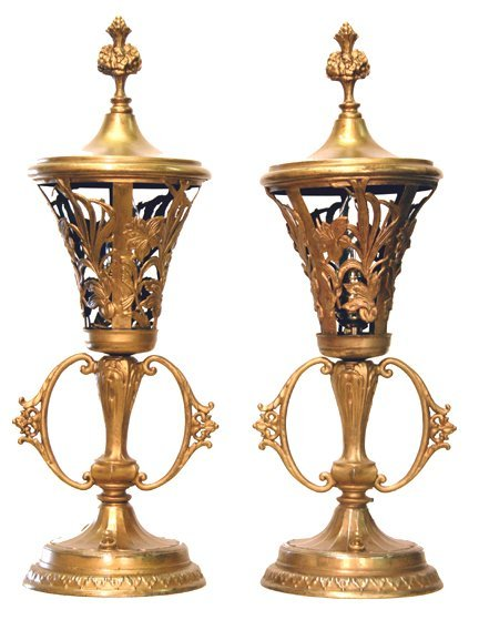 20A: Brass boudoir lamps