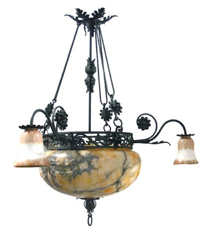 280: Iron and onyx chandelier