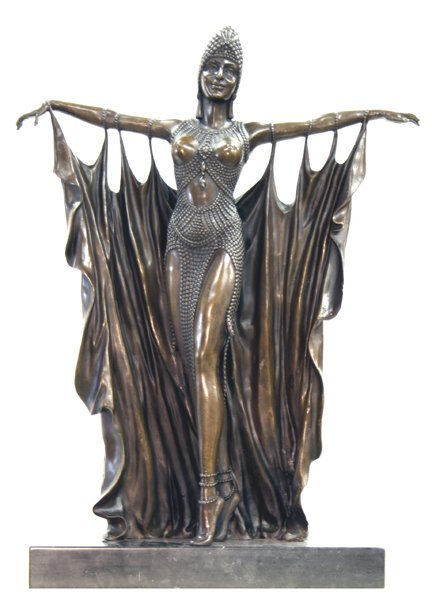 9: New Art Deco Bronze Lady Statue