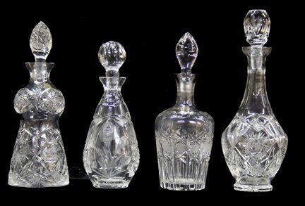 13: 4 Cut Glass Decanters