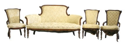 22: Walnut Victorian Parlor Set
