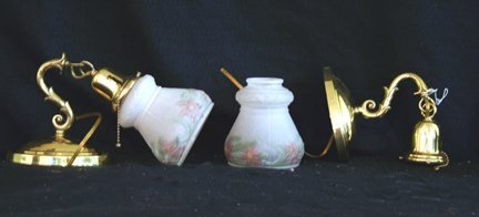 307: Pair of Sconces, Floral Shades