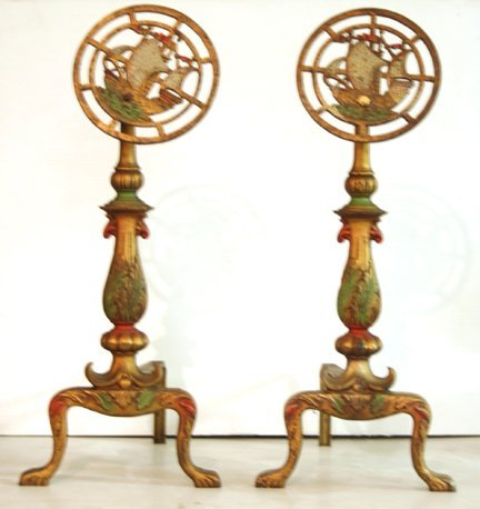 313: Pair of Andirons with Ships