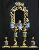 520 Beveled Mirror and Brass Candelabra Set