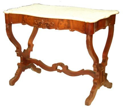 10: Carved Mahogany Marble Top Table