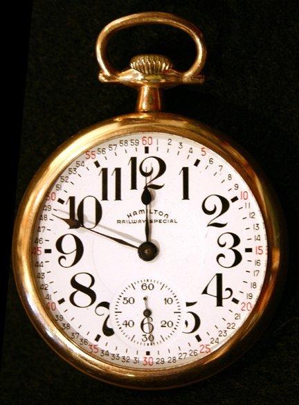 12: Gold Pocket Watch - Hamilton