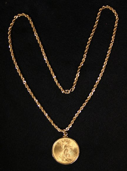 15: $20 Gold Piece On Chain