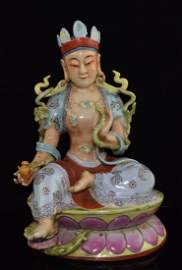 Chinese Famille Rose Porcelain Guanyin Statue