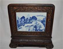 Chinese Blue and White Porcelain Table Screen