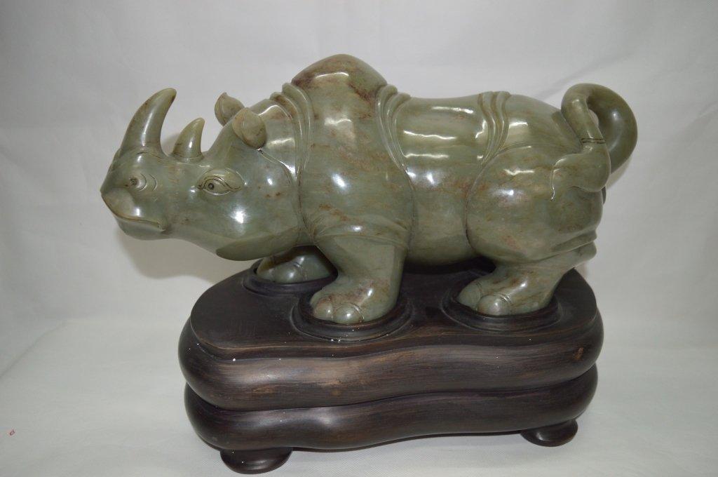 Celadon Jade Craving of Rhinoceros