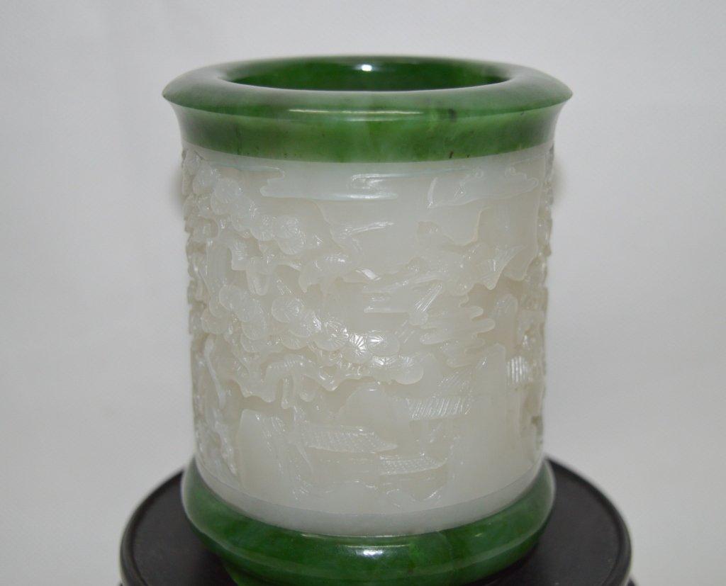 Craved Hetianyu Jade Brush Pot