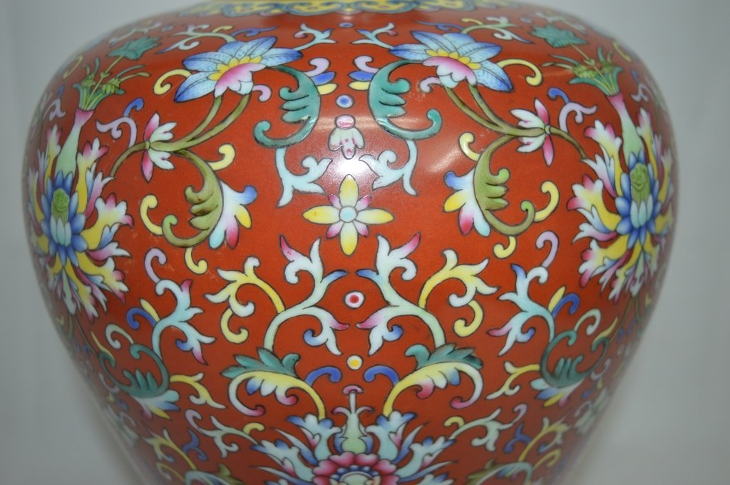 Chinese Famille Rose Porcelain Meiping Vase - 3