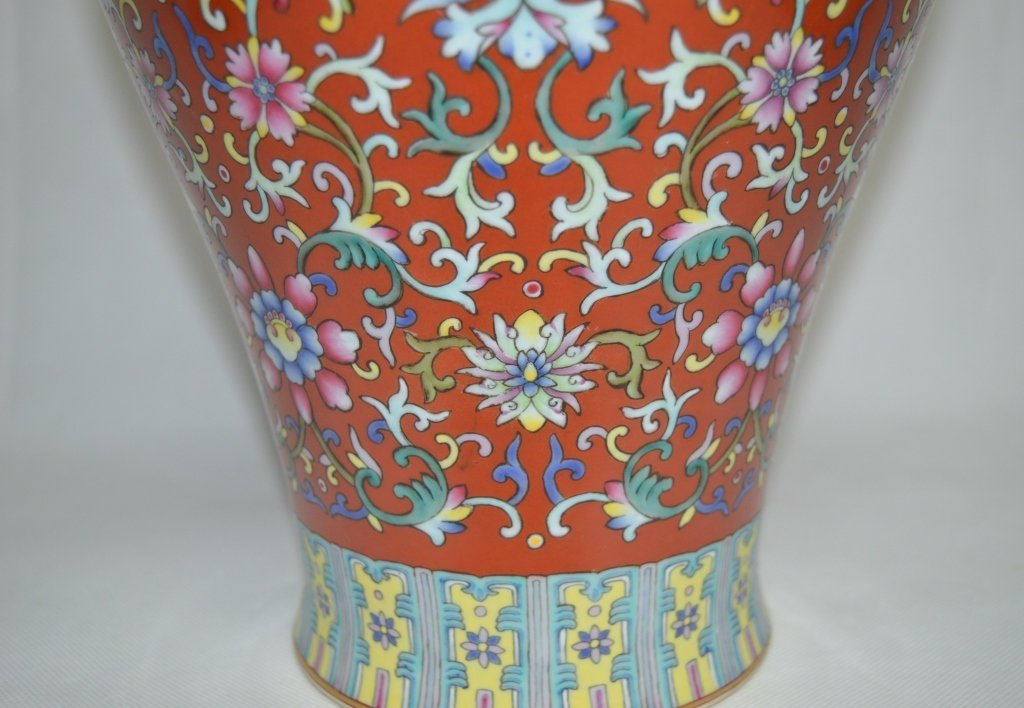 Chinese Famille Rose Porcelain Meiping Vase - 4