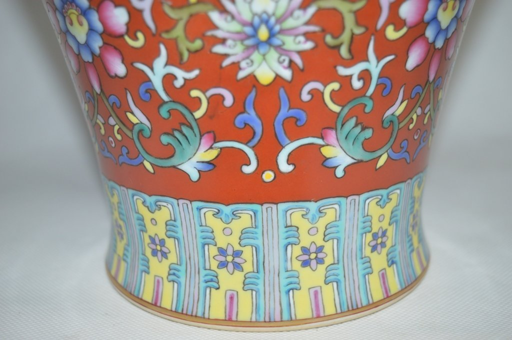 Chinese Famille Rose Porcelain Meiping Vase - 5