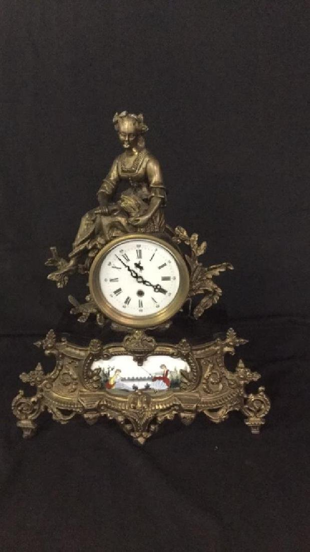 Gilt metal and porcelain Mantel clock