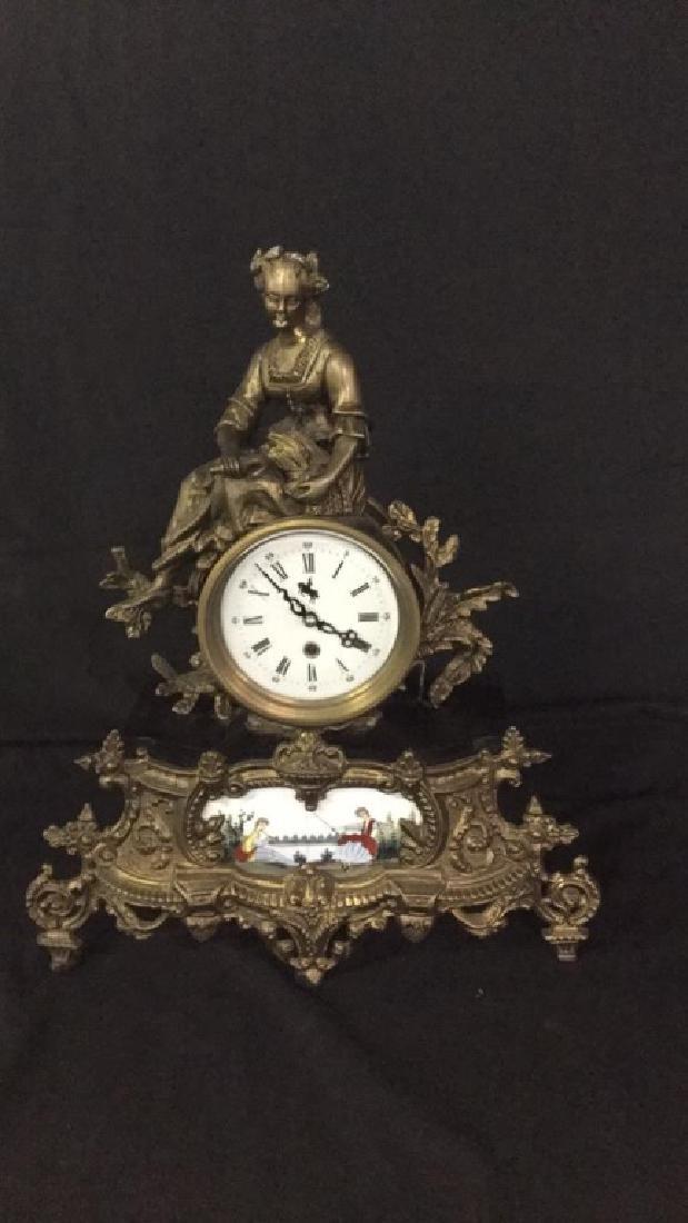 Gilt metal and porcelain Mantel clock