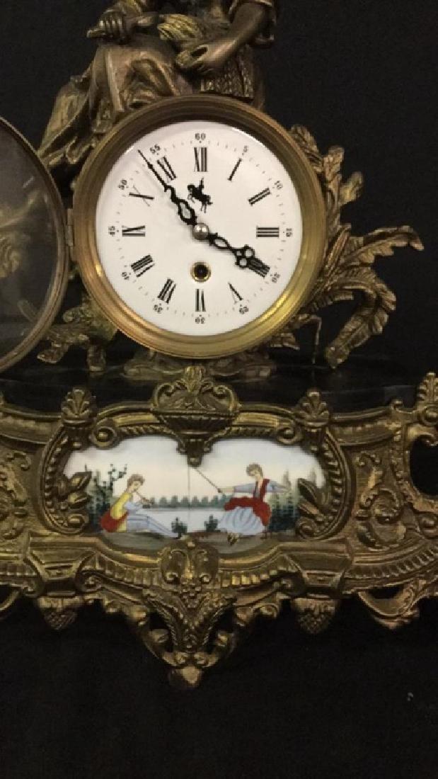 Gilt metal and porcelain Mantel clock - 3