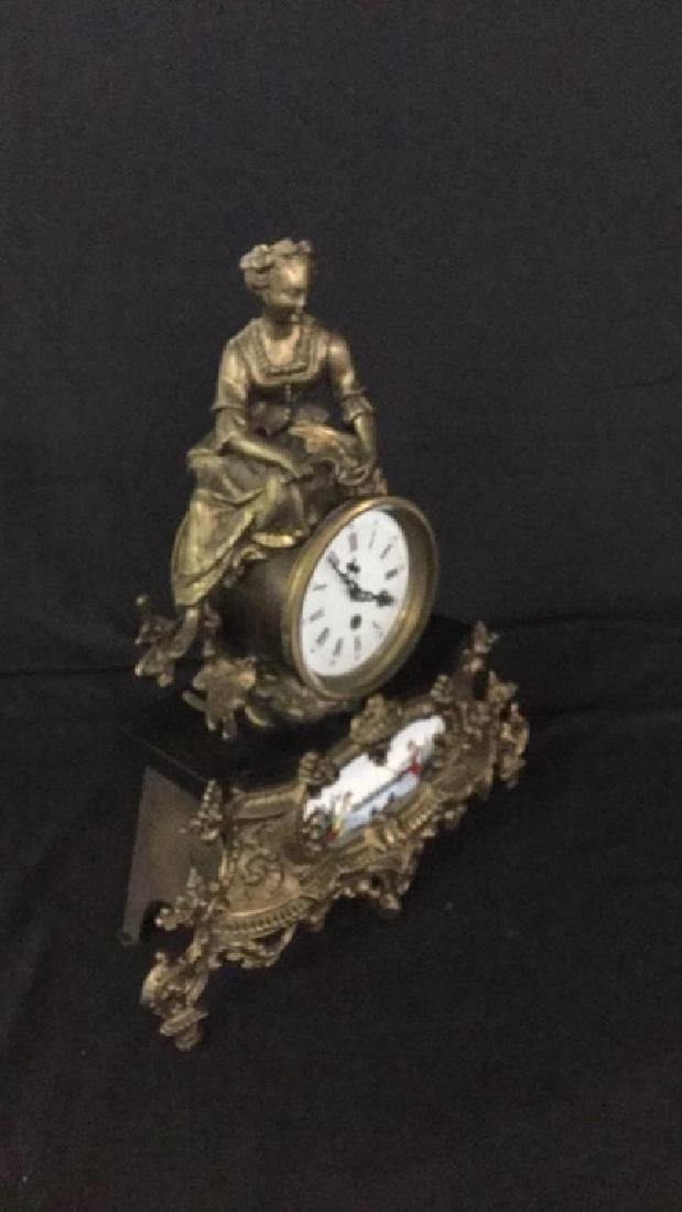 Gilt metal and porcelain Mantel clock - 4