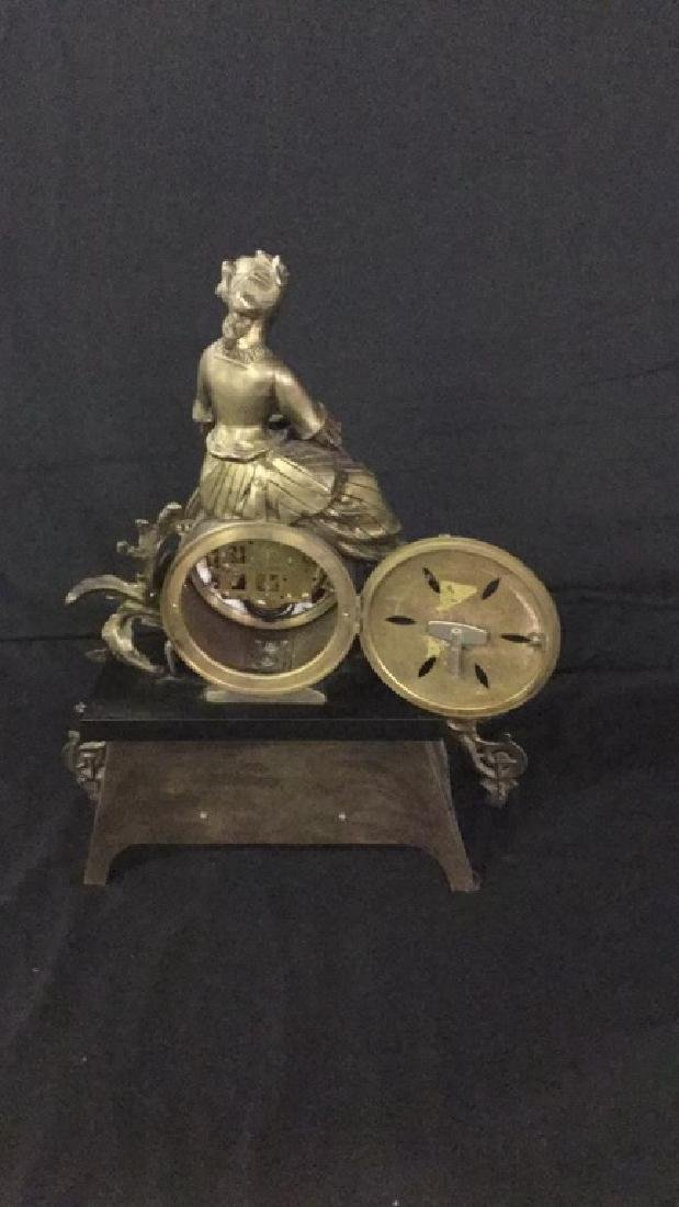 Gilt metal and porcelain Mantel clock - 5