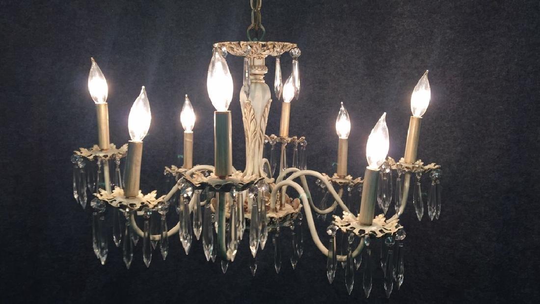 8 Light Anitque White Chandelier - 5