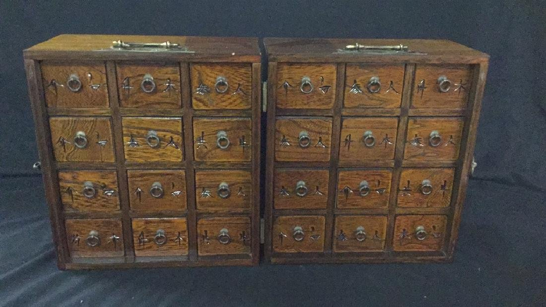 Table top Asian hinged apothecary cabinet - 4