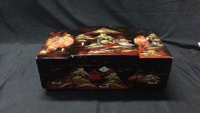 Asian lacquer jewelry box