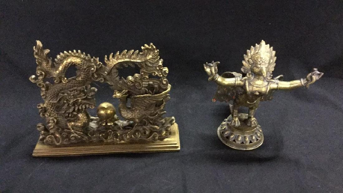 Brass dragon and chicken doorstop & mythical