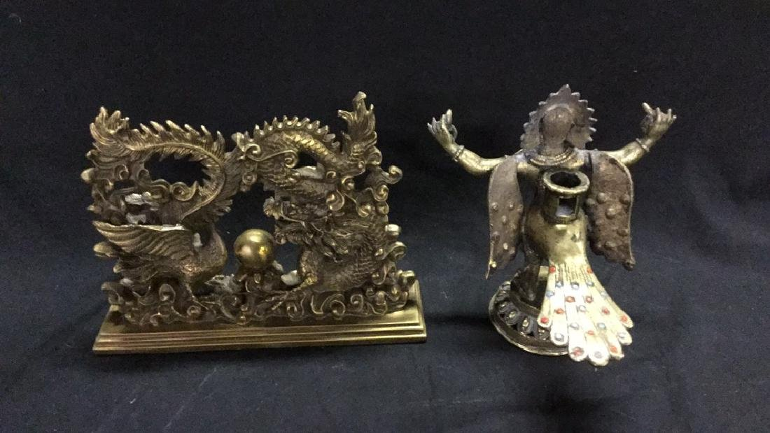 Brass dragon and chicken doorstop & mythical - 2
