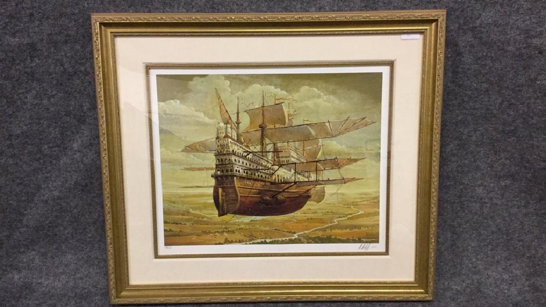 Original print of flying ship (signed) 319/395