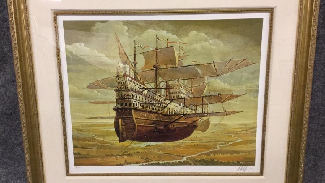 Original print of flying ship (signed) 319/395 - 2