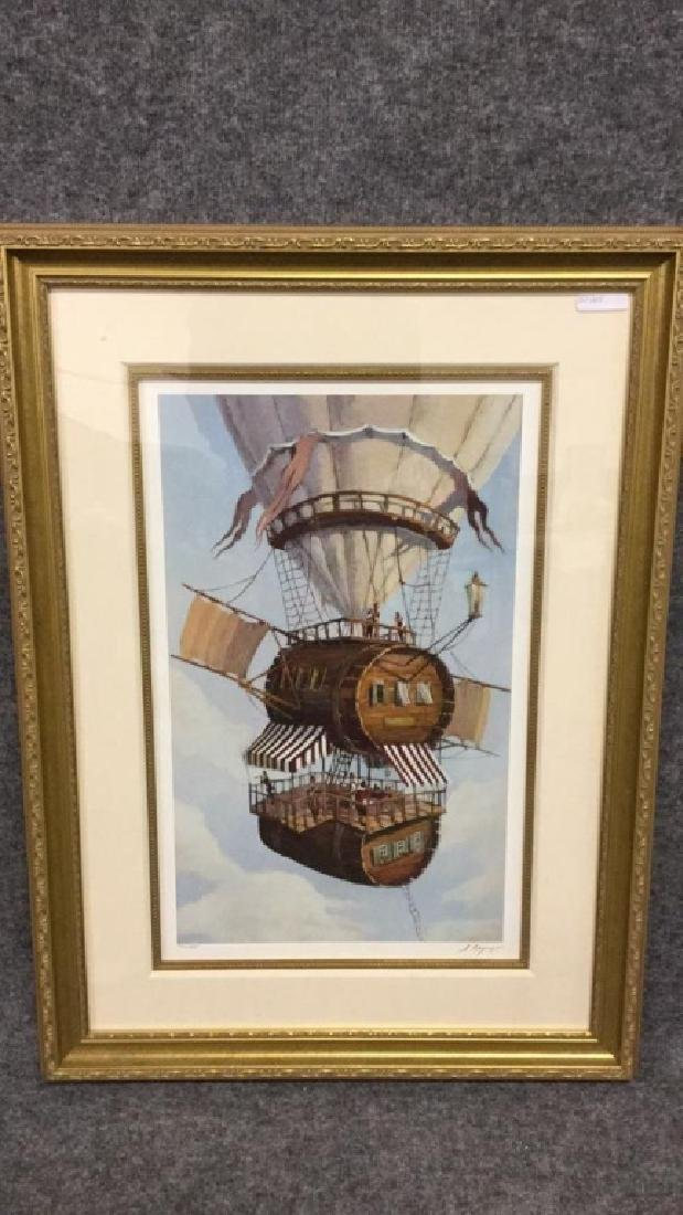Signed print of hot air balloon by H. Bepy 214/395