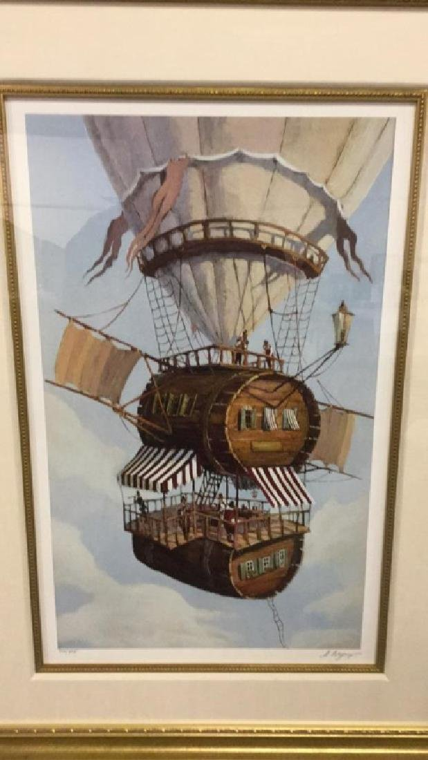 Signed print of hot air balloon by H. Bepy 214/395 - 2
