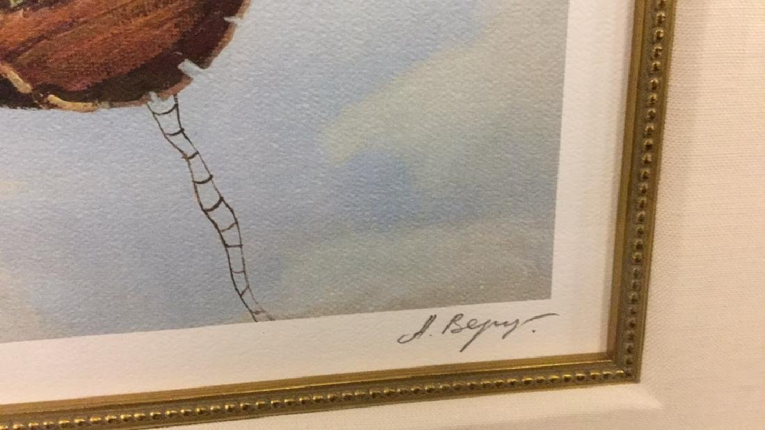 Signed print of hot air balloon by H. Bepy 214/395 - 3