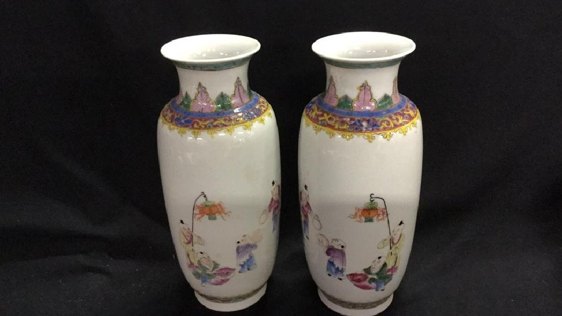 Pair of painted porcelain Chinese vases. - 2