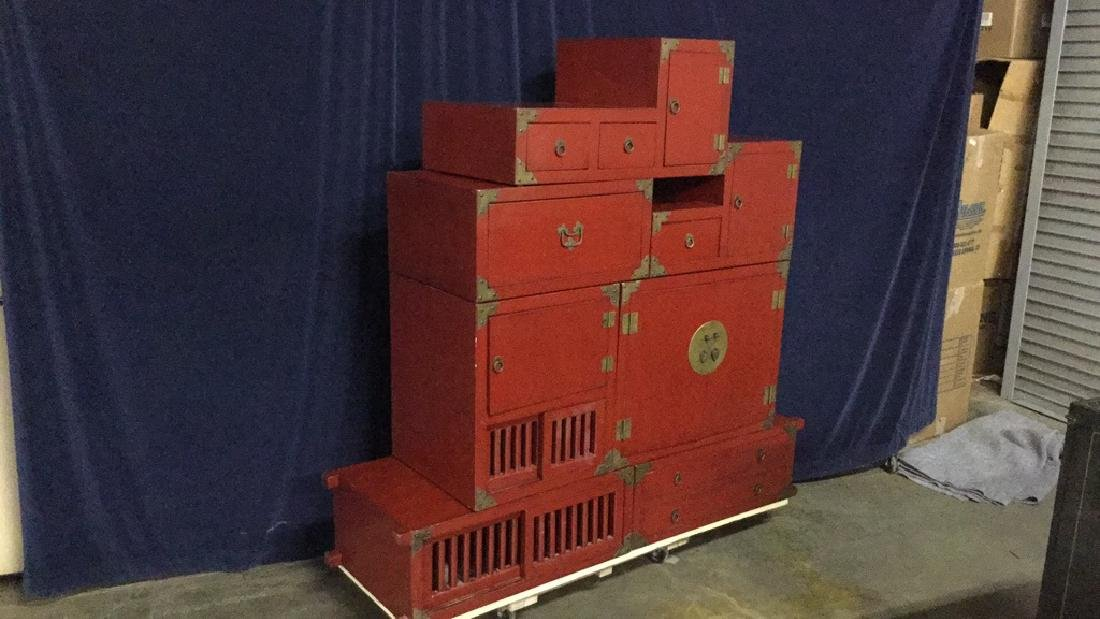 Red lacquer step Tonsue chest - 2