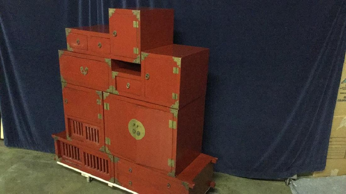Red lacquer step Tonsue chest - 3