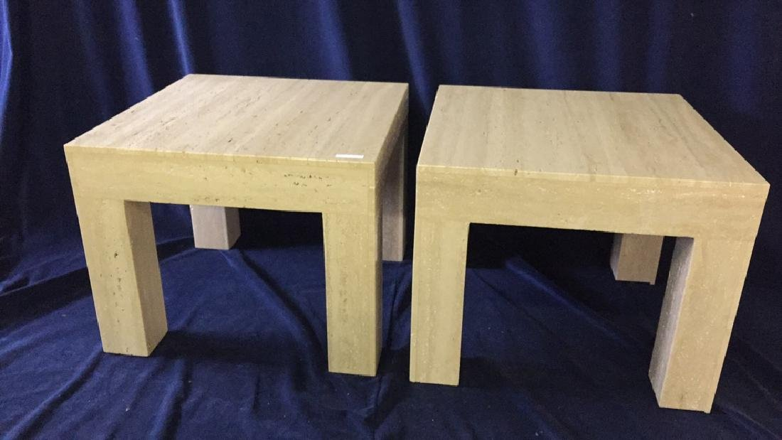Pair of Square Top Travertine End Tables
