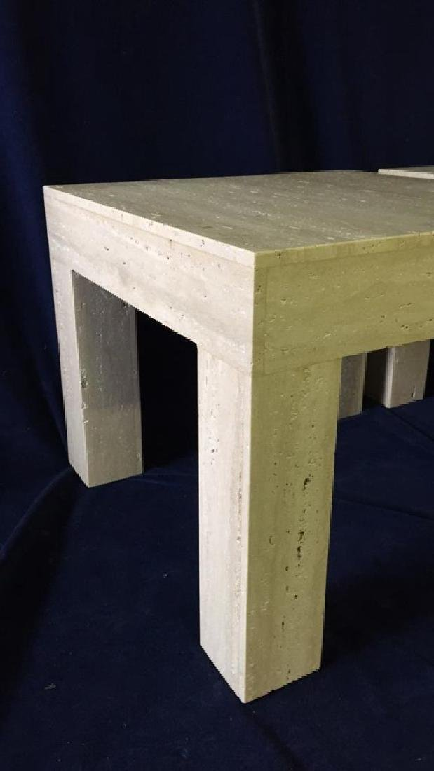 Pair of Square Top Travertine End Tables - 4