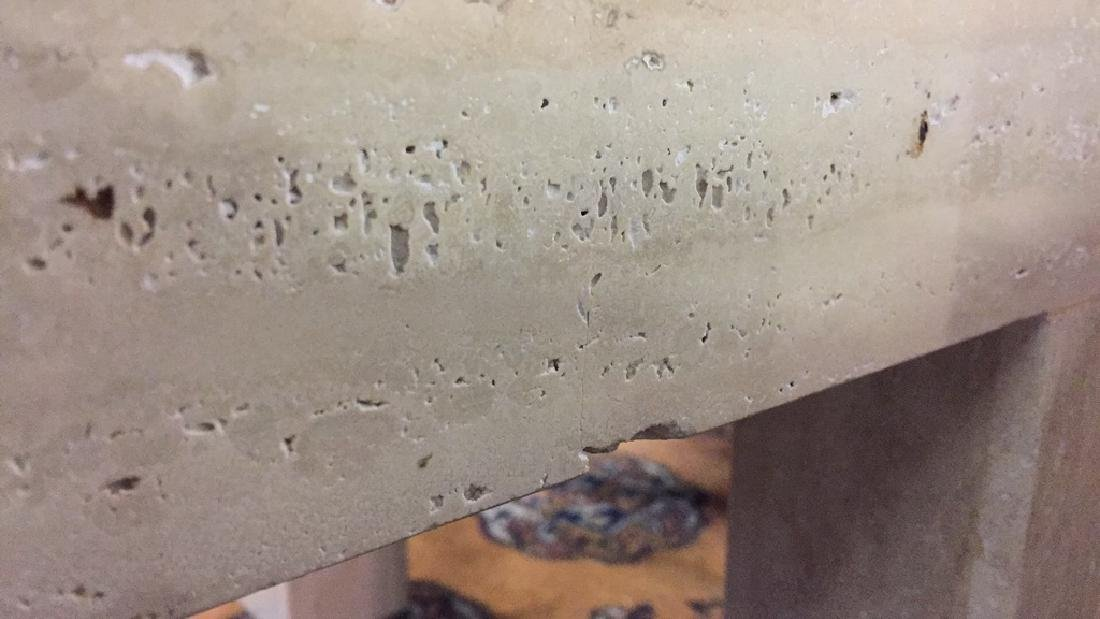 Pair of Square Top Travertine End Tables - 6