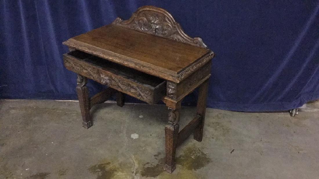 Early American oak writing desk - 2